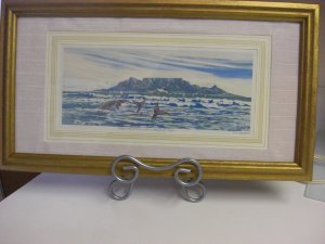 TABLE MOUNTAIN WITH WHALES AT PLAY African Art Original Titled and Signed Print by J. H. Wright
