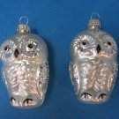 Two Albino Owls Blown Glass Christmas Ornament