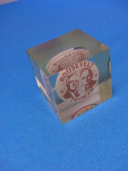 Roosevelt/Truman/Adlai Stevenson Campaign Pin Button Paper Weight