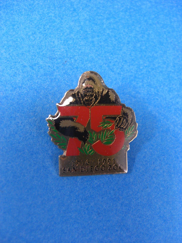 San Diego Zoo 75th Celebration GORILLA  Lapel Pin