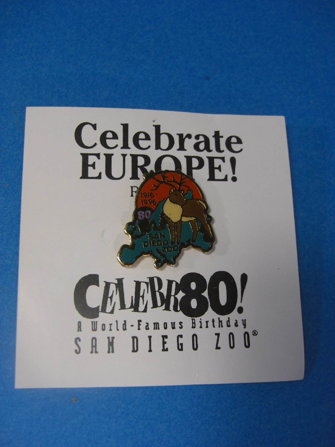 San Diego Zoo Celebrate Europe !  Reindeer Lapel Pin