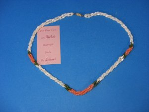 Genuine Lovely 3 Strands Coral Hawaiian Branch Necklace White Pink & Green