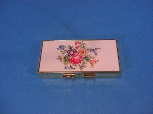 Metal Goldtone Inlay Pill Box