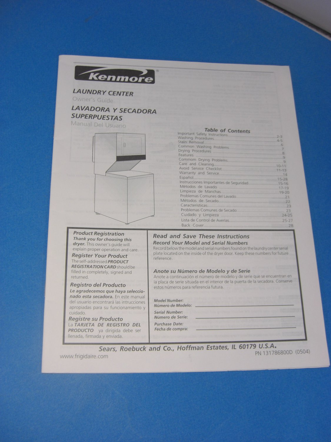 Kenmore LAUNDRY CENTER Instruction Manual