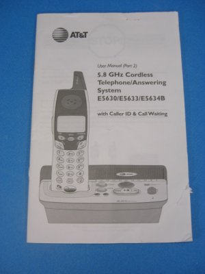 AT & T 5.8 GHz Cordless Phone/Answering System E5630/E5633 Manual