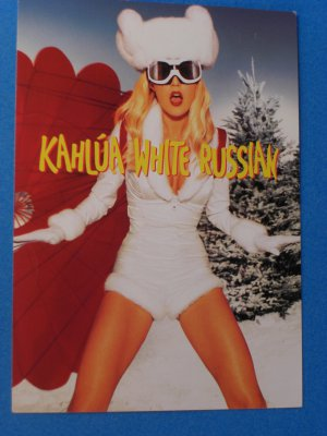 Kahlua White Russian Recipe/Ad Postcard