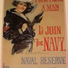 Join The Navy Christy 1918 Poster Postcard