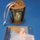 Starbucks Christmas Ornament GOLD Ceramic Coffee Tumbler 2012
