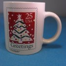 1990 USPS Postage Stamp Coffee Mug Christmas Holiday Greetings