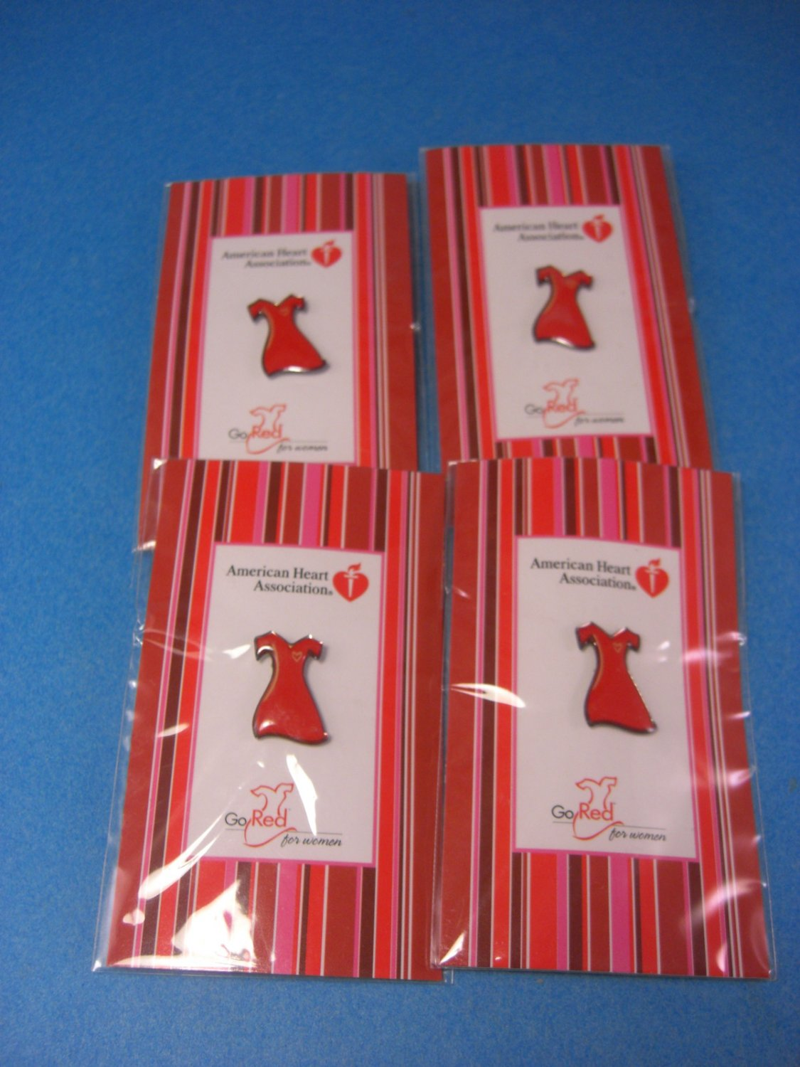 Love Your Heart � FOUR Red Dress Pins