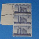 Centennial of Booker T. Washington 3 Cent Stamp Block of 3
