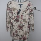 Karen Scott Woman Organic Garden-Print Half Button Collared Top Size 0X