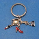 Shoe Purse Lipstick & Mirror Girls Metal Key Fob