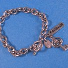 Signed Claire's Bracelet, Forever & Key Charm w/Black RS, Lg Curb Chain Link