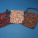 Lot of 3 Brighton Dust Jewelry Small Bag Drawstring Cloth Flowers Print