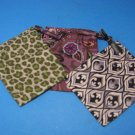 Lot of 3 Brighton Dust Jewelry Small Bag Drawstring Cloth Animal Print