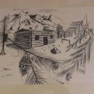 The American Log Cabin Pen & Ink Print