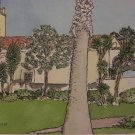 Junipero Serra Building Signed 2008 Watercolor Painting by George Walsh