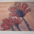 Red Flowers Signed 2008 Watercolor Painting by George Walsh