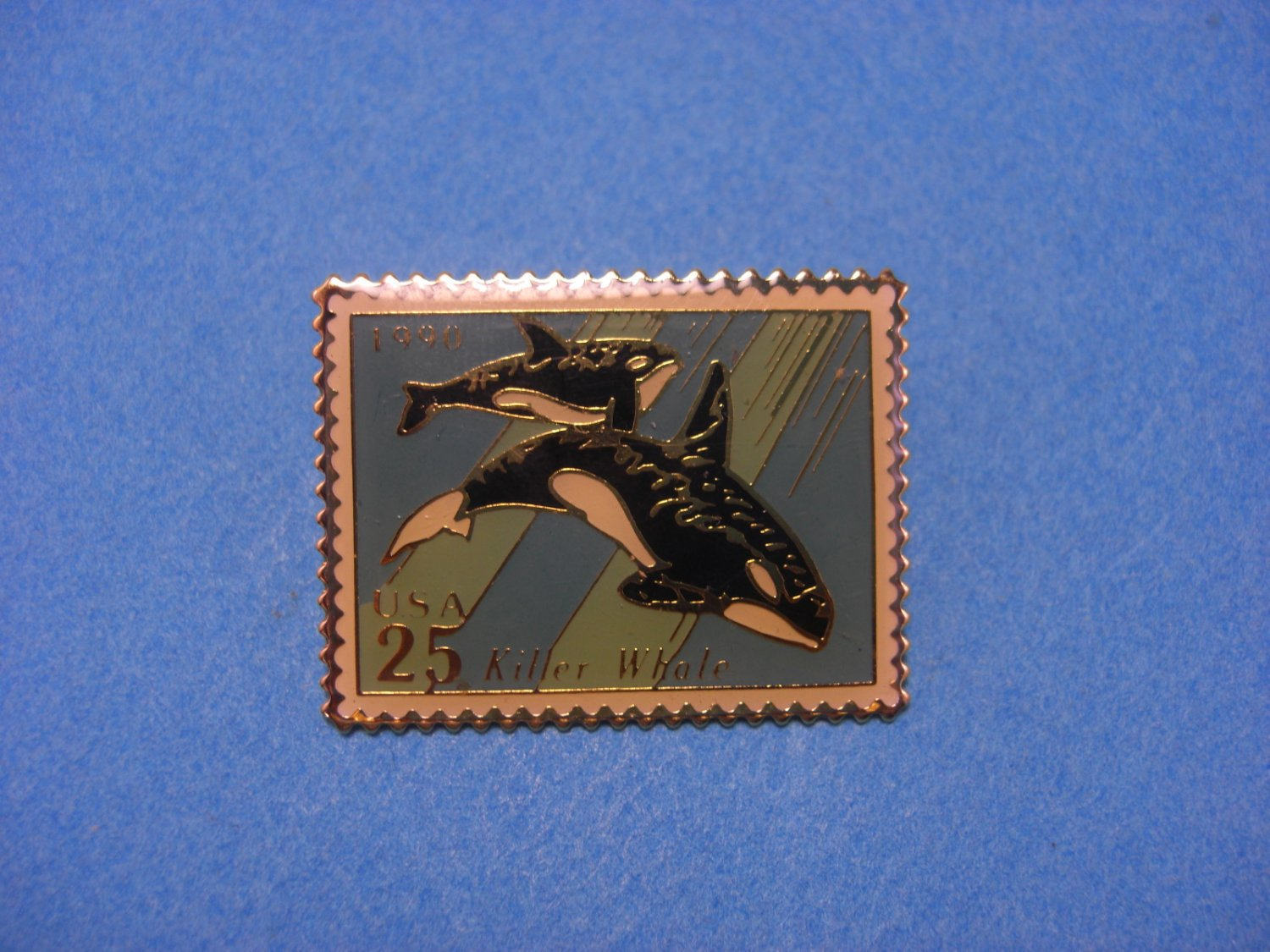 USPS Killer Whale 25c Postage Stamp Pin