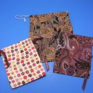 Brighton Dust Jewelry Bags 3 Drawstring Cloth Floral Print