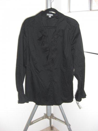 Go Silk Women�s Stretch Knit Black Ruffle Blouse Size 3X NWT