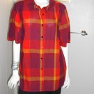 Catherines Button Down Shirt Top Blouse Sz 0X (14-16W) Orange Plaid Multicolor
