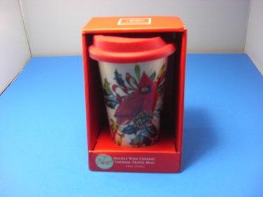 "Lenox China Winter Greetings Travel Tumbler Cream Red Cardinal 5 1/2"" T Cap 10oz"