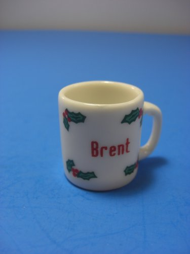 "Christmas Ornament Tiny Mug Personalized ""BRENT"" Porcelain Cup"
