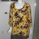 St. John's Bay Woman Knit Top 100% Cotton 3/4 Sleeves Size 3X