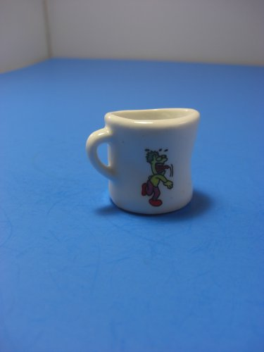 Tiny Miniature Ceramic Mug Cup Man Hitting Basketball