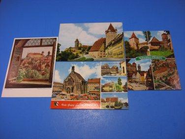 4 Nuremberg Germany Castle-Tower-Vestner's Gate-Postcards