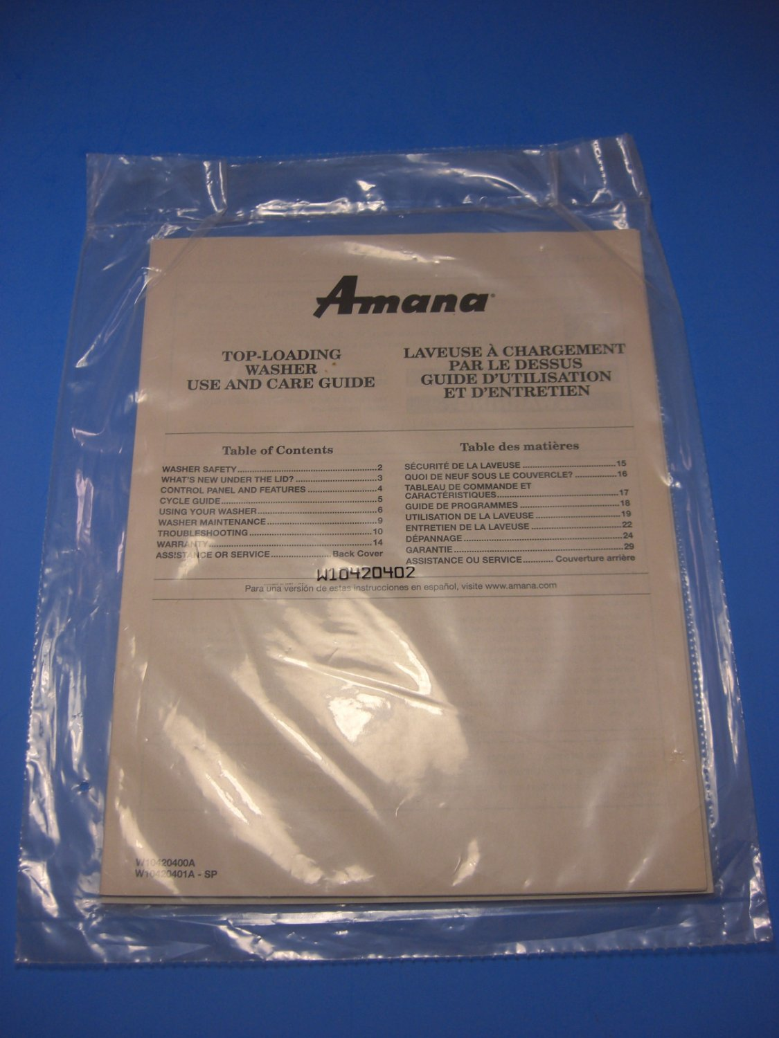 Amana Top-Loading Washer Use & Care Guide Instruction Manual