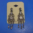 Lovely Sparkling Rhinestone Chandelier Earrings Antiqued Silver Toned