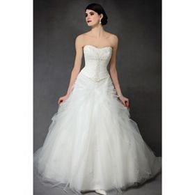 Trumpet Sweetheart Sweep / Brush Train Satin Organza Wedding Dresses for Bride 2009 Style WGY0035