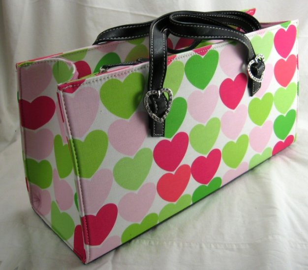 Large Rectangular Canvas Handbags with Rhinestone Heart Buckles