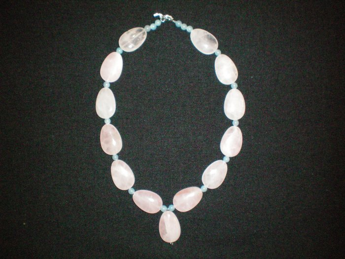 Rose Quartz and blue Aventurine hand made necklace