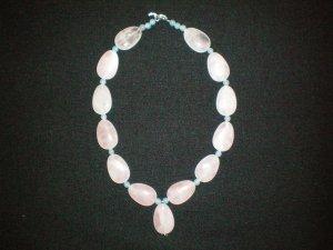 Rose Quartz and blue Aventurine hand made necklace