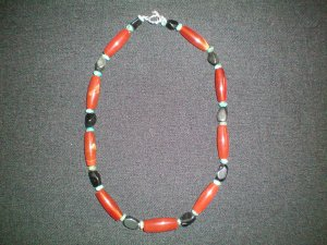 Carnelian, Turquoise, and Obsidian hand made necklace
