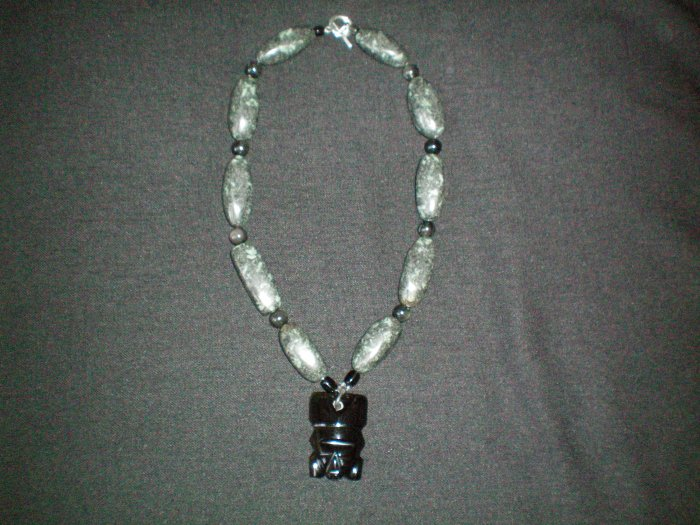 Obsidian and Kamabaa Jasper Necklace