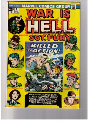 """Marvel Comics WAR IS HELL- SGT. FURY No 8 1974 """"Killed in Action"""""""