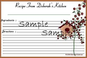 Birdhouse And Roses Recipe Cards 5596