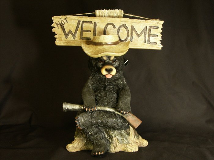 Grumpy Black Bear GO AWAY / Not WELCOME Figurine/Statue