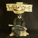Grumpy Black Bear GO AWAY / Not WELCOME Figurine/Statue