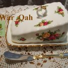 Royal Albert Old Country Roses Covered Cheese Wedge and Spreader Set