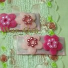 Pair Pink & Mauve Felt Daisies w/Gem Center Clips - Baby, Toddlers, Girls