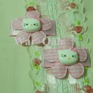 Pair Pink Jumbo Gingham Daisy w/Kitty Head Snap Clips - Baby, Toddler, Girls