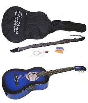 """38"""" Acoustic Blue Guitar with Accessories"""
