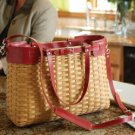 LONGABERGER Warm Brown w/Red Leather Career Case