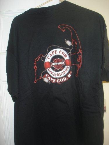 "New Vintage Harley Davidson Black T-Shirt ""Retired"" Cape Cod Logo Hanes Heavyweight Large"